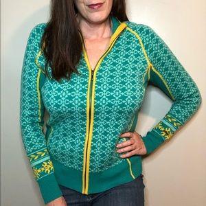 Cabela's teal and yellow zip up sweater EUC